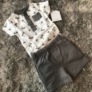 ff42dbb42 Kyle & Deena Matching Sets - NWT Palm tree print onesie and grey shorts